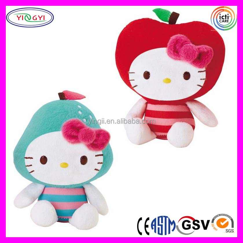 B051 Fruit Face Hello Kitty Doll Stuffed Cartoon Soft Plush Face Changing Doll