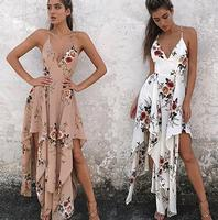 Hot sale sexy deep v neck chiffon irregular woman dress