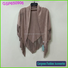 More than 50 color high fashion plain color ladies suede leather shawl plain color