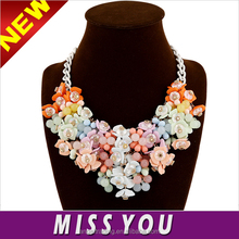 Explosion models Korean fashion color small floral necklace exaggerated jewelry