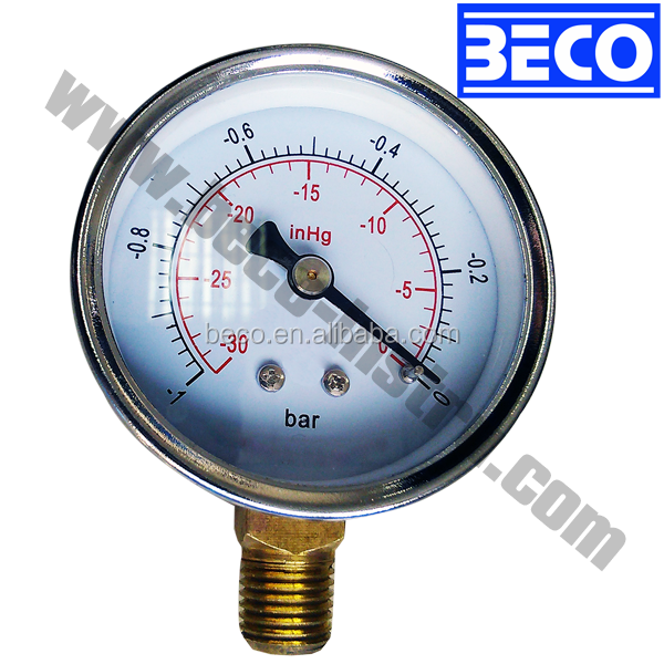 Back painted steel vacuum Bourbon tube pressure gauge Y-60A