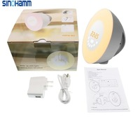 SINOHAMM 2017 Radio FM RGB White Adjustable Color Changing Touch Display Circular Modern Wake Up Table Lamp Light