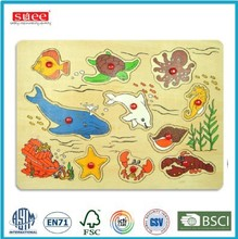 Sea Animal puzzle wooden matching puzzle Wooden Knob puzzle