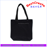 "15""x15""x4"" 10oz heavy black Cotton Canvas Tote Bag 24"" handles from china factory"