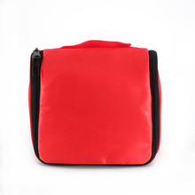 waterproof red satin hanging travel toiletry bag cosmetic pouch