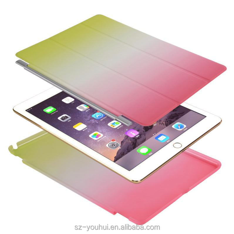 New Fashion Design Rainbow Color Tablet Cover For Ipad Air 2 Leather Case