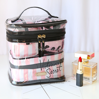 stripe train case sets new Style high quality make up case Compartment multi functional cosmetic bag