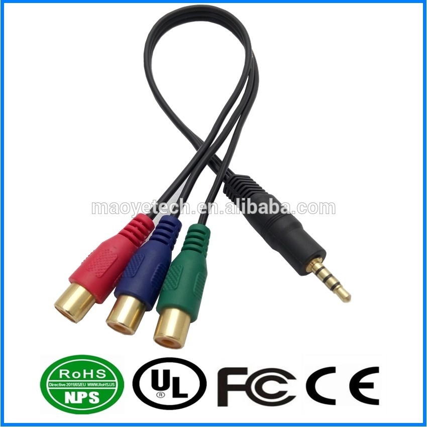 Black Jack 3.5mm Stereo Male to 3 Female Y Splitter RCA Audio Adapter Extension Cable