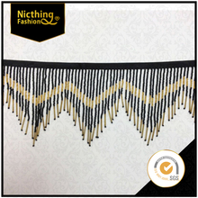 "By the Yard-6.5"" Black & Gold Glass Seed Bugle Beaded Fringe Chevron Lamp Costume Trim NTF084"