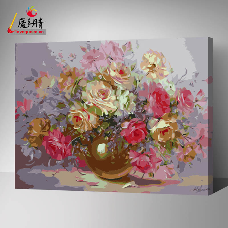 Best wood frame fabric painting for flower diy on canvas oil art decorative painting by numbers