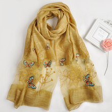 The latest butterfly designs Muslim women magic head hijabs embroidered indian silk acrylic blend pareo voile scarf shawls