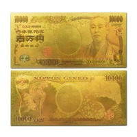 Top quality JAPAN 10000 Yen Gold Banknote Plated With pure 24K Gold in Colors for gift