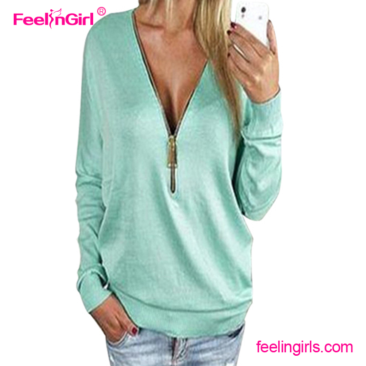 In Stock Light Blue Zipper V Neck New Women Blouse Back Neck Design