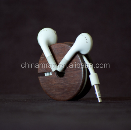 High Quality walnut <strong>wooden</strong> earphone cable holder for mobile phone