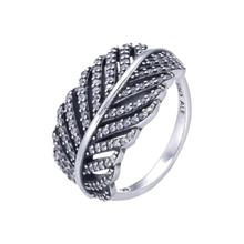 S925 Sterling Silver Leaves Ring Denmark Style Jewelry Diamond Ring Leaves For Wedding Jewelry