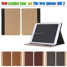 Wooden shape pu smart leather case for apple ipad air ipad 6, for ipad air 2 leather case