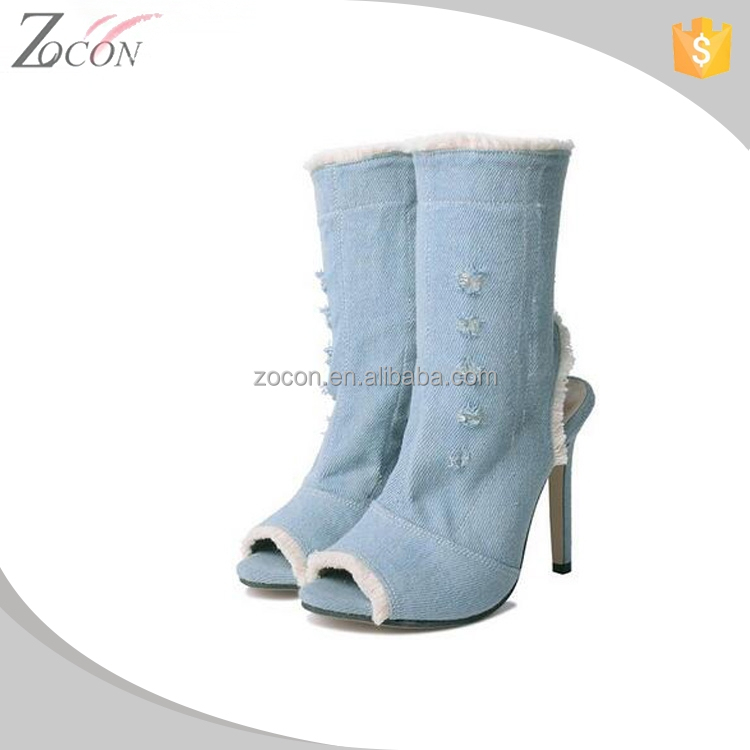 2018 Sexy peep-toe short jeans boots for girls