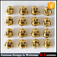 Wholesale Gold Plated Double Side Buddha Head Beads Unique Beads With Hole For Jewelry Making