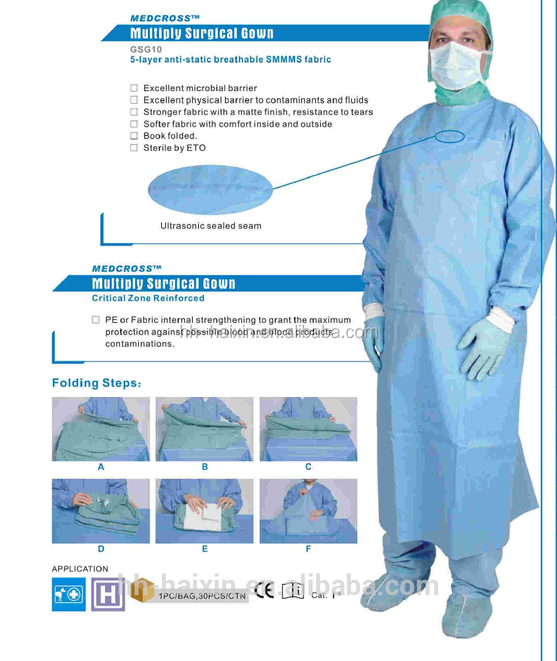 FDA CE Approved Surgical Blood and Bateria Repellent Ultrasonic Level 4 Surgical Gown