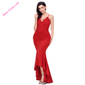 Red Woman Sexy Crisscross Spaghetti Straps Hi-low Mermaid Evening Dress