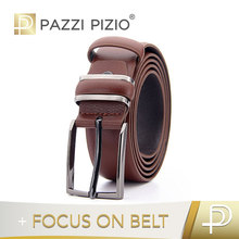 Fashion brown genuine leather belts pin buckle man belts for suit men