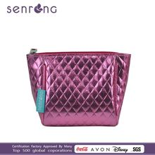 Newest pink checks bag popular small pouch fashion PU cosmetic bag