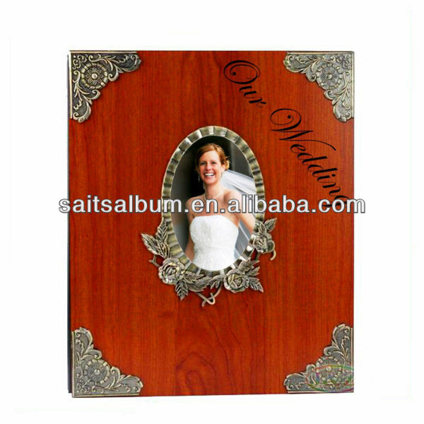 New style elegant wood wooden photo album cover with cameo made in China