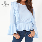 Women chiffon frill sleeves tops ladies blouse guangzhou