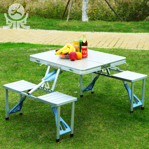Easy used garden picnic aluminium frame folding connected table chair for outdoor