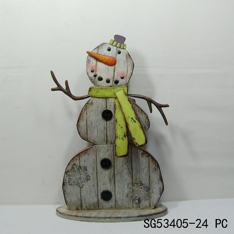 cute indoor and large metal snowman standing decoration