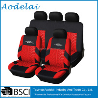 Seat Cover Car with Red Tire Track Detail Style Polyester Fabric Car Seat Covers