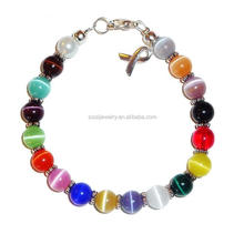 Many Colors Medical Alert Cancer Awareness Beaded Bracelet