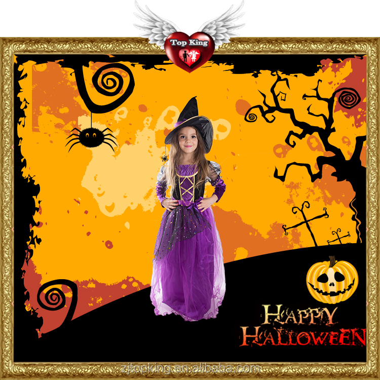 Hot Sales Purple Princess Costume Dress Halloween Sexy Witch Costumes for Kids