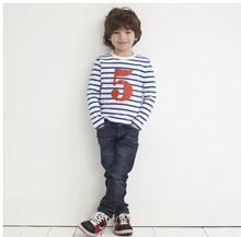 kids number printing stripe long sleeves casual t-shirt and pants for boys
