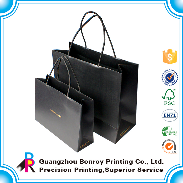 china made portable hot sales custom brand black resistance soiling paper shopping bag