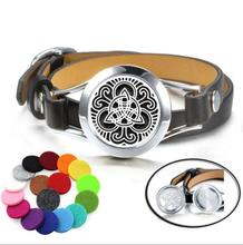 AM018 Custom Logo Yoga Aromatherapy Essential Oil Diffuser Locket Bracelet with leather cuff