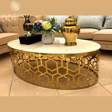 Marble Top Modern Design Home Furniture Stainless Steel Coffee Table