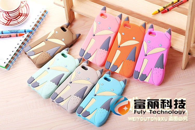 2015 Lovely 3D Cute Silicone Cartoon Animal Fox soft cover Case for iPhone 5 5S iphone5,500pcs/lot