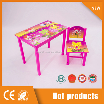 Cute Cartoon Kids Wooden Table and Chair Cheap Study Furniture Sets