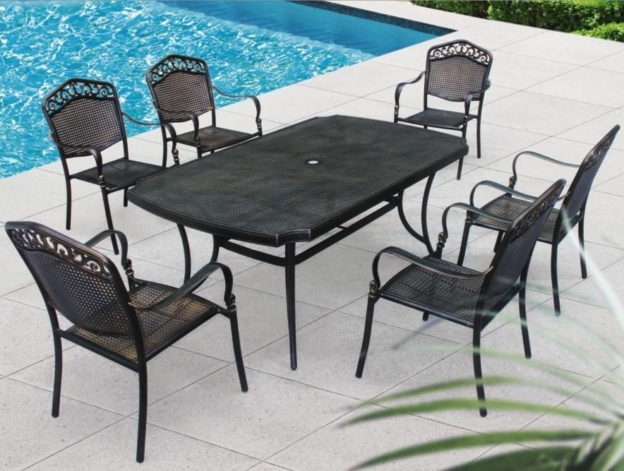 Alle weerbestendig ronde eettafel en stoelen outdoor patio tuin metalen gegoten aluminium - Eigentijdse patio meubels ...
