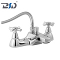 Chrome Polished Solid Brass Bathroom Faucet Cloakroom Faucets Deck Bath Shower Mixer Dual Handle