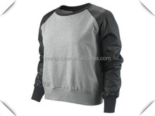 Custom Women's Leather Sleeve Sweatshirts Plain Grey Pullover Sweatshirts with Raglan Black Leather Sleeves Wholesale