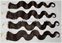 Hot Fashion Micro Loop Hair/ Micro Bead/ring Hair Extensions Double Weft Virgin Brazilian Human Hair Weft