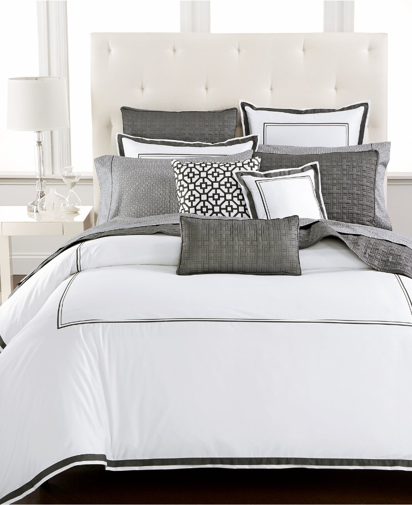 Percale White Classic Hote Sheet Bedsheet With Embroidered Lines
