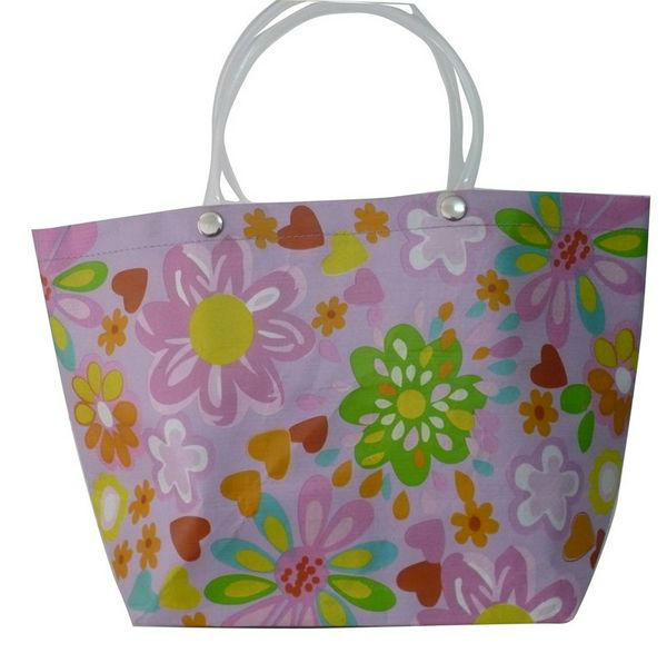 Eco-friendly Recyclable Flowers Purple PP Woven Shopping Bag With PVC Handle