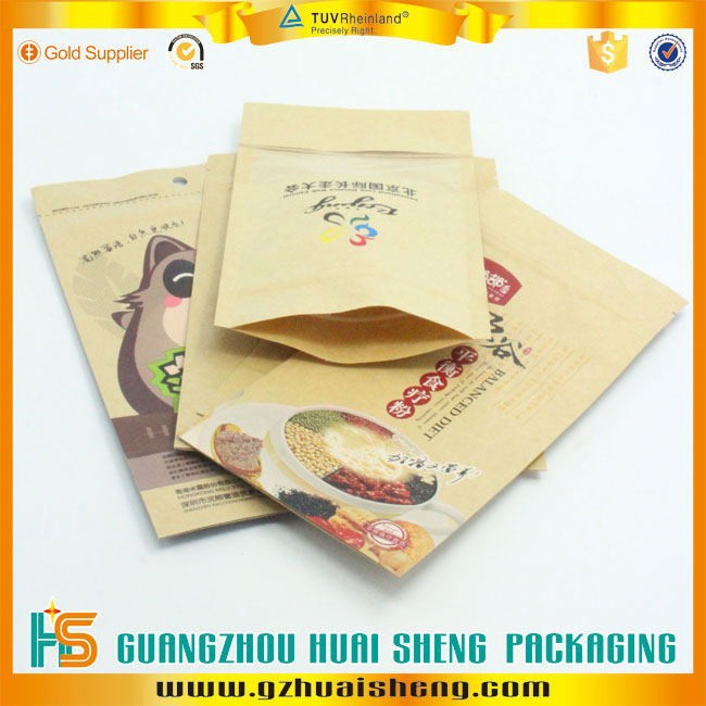 The Cheapest recycled zip lock kraft paper bag for food wholesale