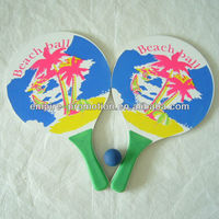 advertising plastic beach racket with rubber ball
