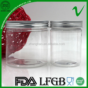 Food grade cylinde empty food clear candy pet jar with aluminium lid