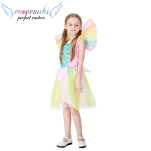 Cute Rainbow Angel Skirt Halloween Children Princess Dress Stage Performance Cosplay Angel Costume