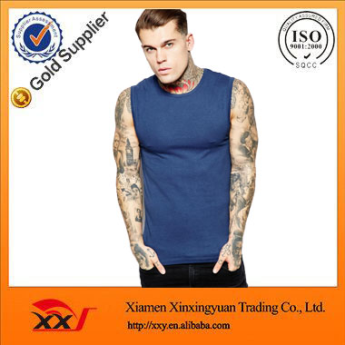 custom extreme muscle fit t shirt sleeveless t-shirt gym t shirt in blue factory direct china